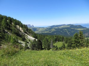From Mont Seura, view of the Alpe di Siusi, largest high-alpine meadow in Europe.
