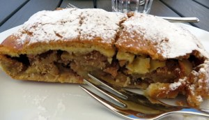July 9: High-Mountain strudel at Passo Sella. We had a long hike, punctuated by a stop for healthy yogurt, so we indulged in a cinnamon-flavored, raisin-packed variety with a more cake-like crust.
