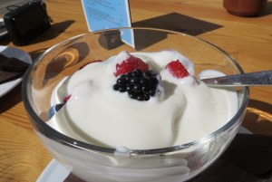 July 10: Today, yogurt with fresh berries replaces  strudel at 2153 meters above sea level. Berries tasted fresh-picked.