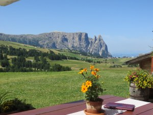 Looking across the Alpe di Siusi from the terrace at Hotel Icaro. A bit of a change from our Christmas Day scene, below.