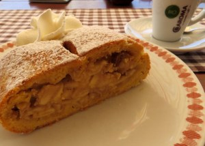 July 18: Last strudel of the trip, eaten overlooking the same scene we cast our eyes on Christmas Day, Hotel Icaro in the Alpe di Siusi. Surrounded by a cake batter, the fruit was flavorful and the strudel loaded with pine nuts as well. Panna of course1