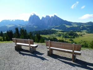 Hopeful benches, 2012. This is the view that made me fall in love with the Val Gardena.