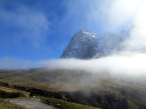 The Eiger pokes above low level clouds as we depart Kleine Scheidegg.