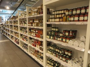 Long long shelves of almost everytning. Here, preserved vegetables. Not your Green Giant corn....