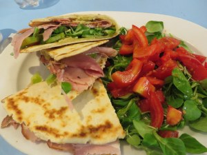 "My lunch, Piadina ""La Saporita"" from La Piadina. True to its name, it was flavorful."
