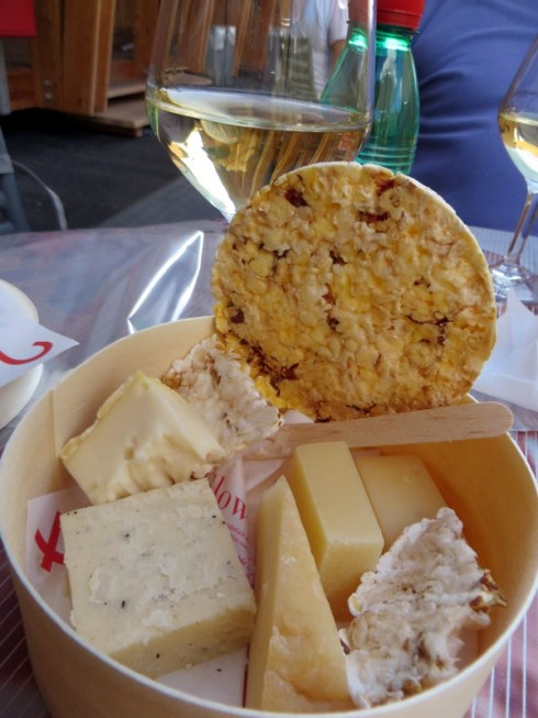The Slow Food pavilion featured a snack of organic cheeses, corn crackers, and an Abruzzese wine called Passerina, of which we are now fans.