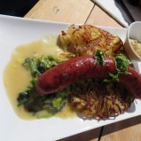 Ric's choice: local sausage with creamed leeks and roesti.