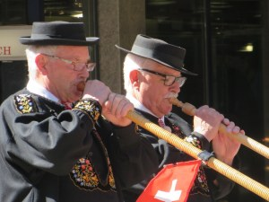 Local color: alpine horn players in Zermatt.