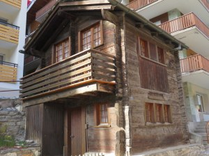Zermatt has left many of the old-style huts and houses.