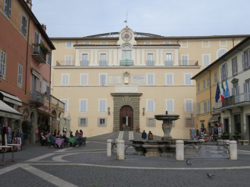 The Apostolic Palace dominates the square in Castel Gandolfo.