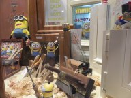 "Even stores got in the spirit, here ""Minions"" in a woodworker's shop."