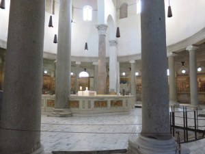 The sanctuary at Santo Stefano Rotondo. The ancient walls wtih frescoes surround the sanctuary.