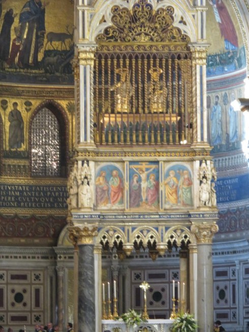 The baldacchino over the alter. See the little statues in the upper cage? Those are silver, and are of St. Peter and St. Paul, which contain pieces of their heads.
