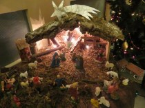Nativity scene in the lobby of our apartment building.