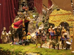 Presepe in the window at Dolce and Gabbana, Milano. This is 1/2 of the giant Neapoletan-style creche.
