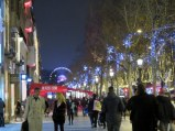 Crowds and lights on the Champs-Élysées. See the huge ferris wheel at Place de la Concorde?