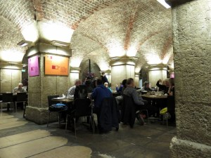 Cafe in the Crypt. Notice the tombstones on the lower left.