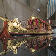 "Bucintoro commissioned by a Savoy in the early 18th century. It is HUGE, a ""state barge"" of the type used by the Doges in Venezia, hosed in the gigantic stables at La Venaria.."