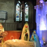 Nativity tableau in St. John the Baptist, Burford. Very simple and sweet compared to the Italian creches.