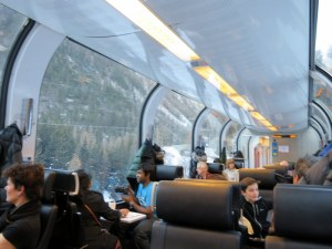 Bernina Express interior. Lovely, quiet, comfy. Coffee cost us €4.50 each however. On Trenitalia you get one free.