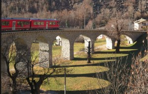 The Bernina Express on the famous Brusio spiral viaduct.