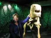 Laurel and friend. The dinosaur took over 80,000 bricks.