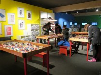 At the end of the exhibit there are tables for the young...