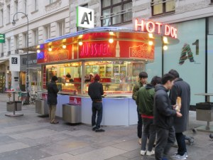 Typical wurstel stand in Vienna. YEs, they are much patronized. No, we did not.