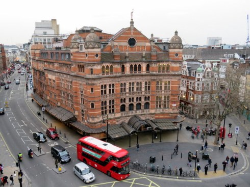 View from our flat: The Palace Theatre at Cambridge Circus, right in the heart of things.