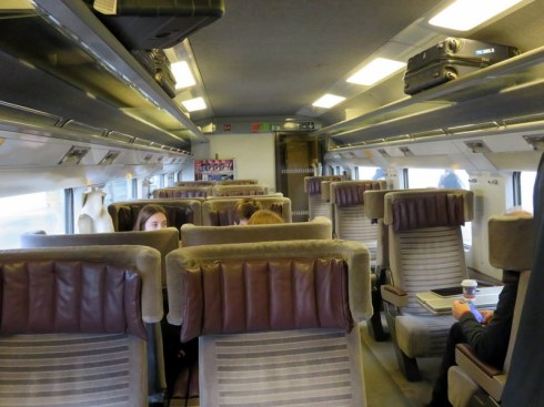 EuroStar interior, photo taken on our December 2015 trip. Spacious. The TGV and FrecciaRossa trains are excellent, too. We like the configuration with the table between us, like you see on the right.