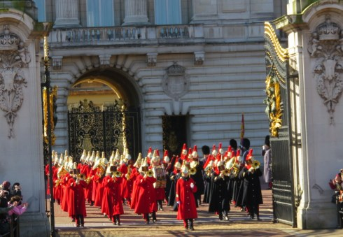 Changing of the Guard, Buckingham Palace. God it was cold and we had to stand for two hours!