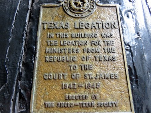 Who knew? Texas had a legation in London during its brief period as a country.