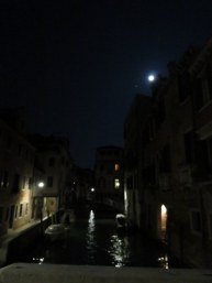 Moon over the canal, view from our hotel front door.
