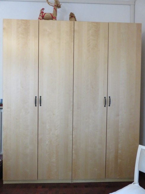 Our bedroom wardrobes, one each, 100cm -- about 39 inches -- wide.