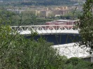 Hiking down Monte Mario, a short detour leads to views over the spaceship-like soccer stadium.