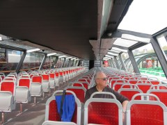 Just like the train from Milano to Torino, we were almost alone on the Seine cruise. The top deck was crowded, but we got out of the sun and enjoyed the lower deck.