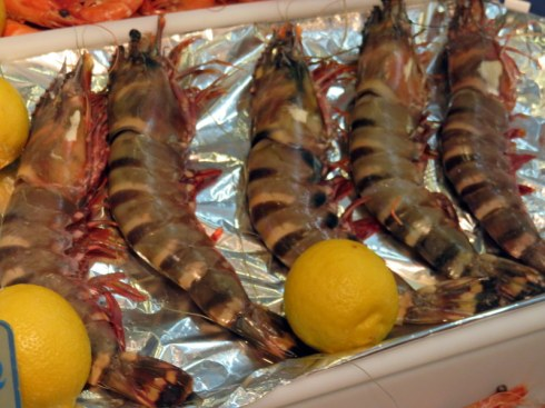 Tiger prawns. Note the lemon included for perspective. Small lemon, but still!