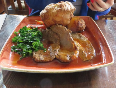 My Sunday roast for lunch. Note the enormous and perfect Yorkshire Pudding.