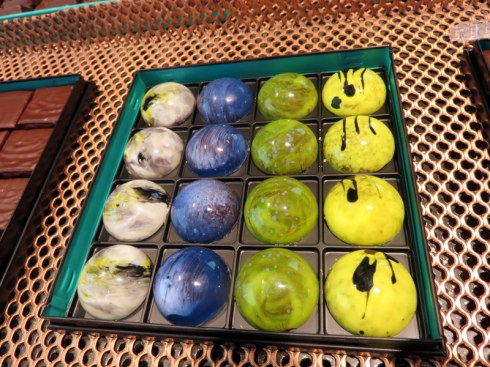 These are chocolates, not marbles, at the very high end chocolatier, Patrick Roger, I think 3-4 Euros per piece. Luckily our food tour included some product tastes.