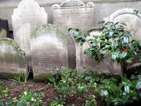 Tombstones in Postman's Park, London, a park which grew out of a former burial ground. It includes a Memorial to Heroic Self Sacrifice as well.