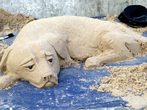 Sand dog. Saw this little guy sculpted at Piccadilly Circus. Where he got the sand....