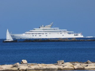 No doubt an Arab-owned yacht, powering past Antibes as she steamed toward Nice.