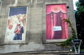 """We found many of these painted """"windows"""" on facades throughout Avignon."""