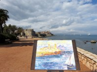 Antibes beach walk, featuring copies of paintings by famous impressionists with the view the artisit portrayed.