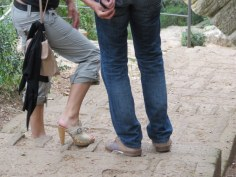 This woman must be an Italian. I was wearing hiking boots as we trod up to the top of the Pont du Gard for the view.