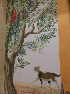 Mural in the hallway of our hotel, Hotel Le Colbert, Avignon. One of the best we've stayed in.