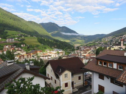 Our terrace overlooks the lovely village of Ortisei.