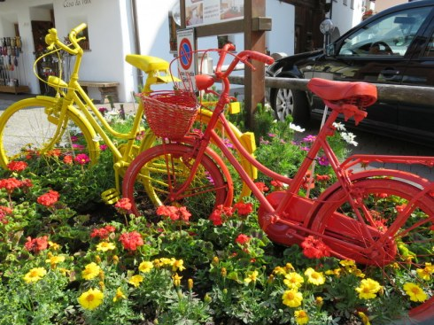 Colorful bicycles are all over the village of Selva, celebrating the Sellaronda.