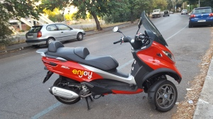 Not to be outdone, Enjoy, a cooperative effort with the national train service and ENI a fuel supplier, adds motorini to their car-sharing fleet.