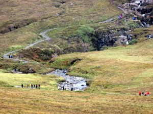 The Fairy Pools on Skye...look at the line of hikers! I wonder at the adverse impact on the moor.